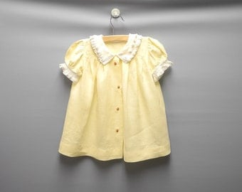 Vintage Girls Clothes, 1920's Handmade Yellow and Ivory Ruffled Baby Girl Dress, Yellow Baby Dress, Vintage Baby Dress, Size 18-24 Months