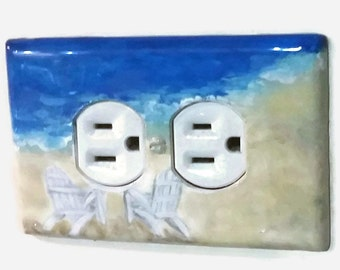 Nautical Beach Light Switch Plate Hand Painted,Tropical Beach, Adirondack Chairs Art, Coastal Living Art, Seascape Art, Nautical Home Decor