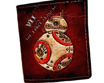 Star Wars Gift - Star Wars Wallet - BB8 Wallet - BB8 Gift - Nerd Gift - Husband Gift - Geek Gift - Dad Gift. Holds 8 cards, has 1 bill slot