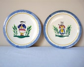 2 Vintage French collectible plate Pornic French folk costume Brittany France