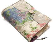 Large Bible Cover, Silk Kimono Fabric, Japanese Garden with Stream, Custom Sizes for a Made to Measure Book Cover, UK Seller