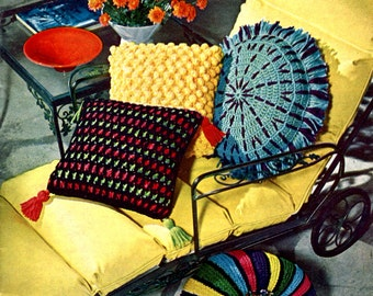 1960's Mid Century Pillows and Mini Pouf Crochet Pattern Instant Download PDF