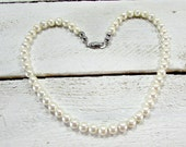 Vintage Ivory Pearl Necklace, Big Glass Pearl Necklace, Princess Length, Silver Clasp, 1980s Wedding Bridal Jewelry, 80s Prom Jewelry