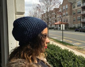 SALE Crochet Slouchy Beanie Hat Unisex - DENIM NAVY