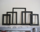 Shabby Rustic Wood Empty Frame Gallery - Vintage Collection of 5 Open Frames Distressed in Black