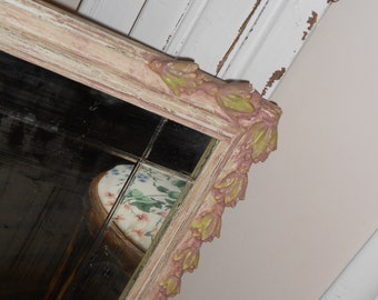 Shabby Chic Gorgeous Relic Victorian Beveled Mirror - Antique Wood Frame Cottage Garden Trimmed