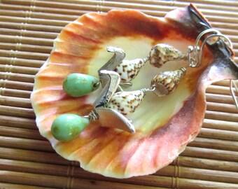 Salty Sea Bird Shell Earrings