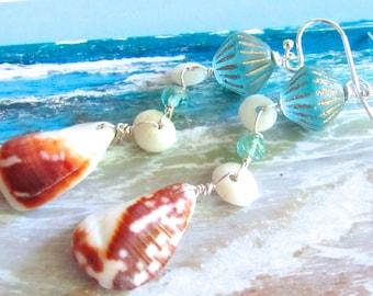 Crystal Blue Persuasion Shell Earrings