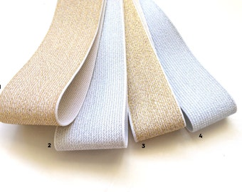 """2"""" and 1.5"""" Speckled Gold or Silver Stretch Elastic"""