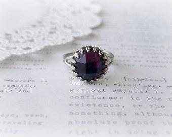 Silver Ring with Dark Purple Grape Acrylic Stone