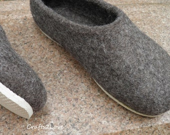 Gift for him, Felted slippers, wool slippers with hand-cut micro-pore soles. Grey slippers. Made to order. Indoor and light outdoor wear.
