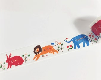 SALE Colorful Blue Orange Red Brown and Green Bear Deer Pademelon Rabbit Animal Washi Tape 5.5 yards 5 meters 30mm