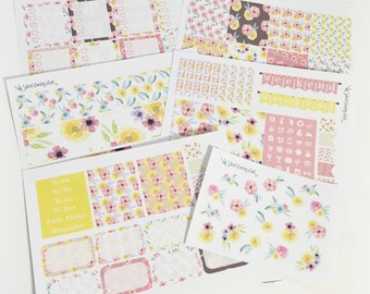 40% OFF SALE 0017 - 6 Sheet EC Inspired Weekly No White Sticker Set Pink Yellow Blue Floral Weekly Sticker Kit Stickers Happy Planner