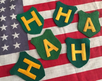 Vintage Varsity Letters H and A  Athlectics and Honors Green and Gold
