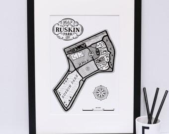 Ruskin park Map Print