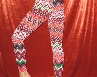 Colorful Zigzag Patterned Leggings Yoga Dance Exercise Stretch Pant