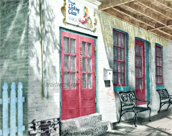 Country Shop Red Doors Blue Fence Art Print Free Shipping 5 x 7, 8 x 10, 11 x 14