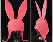 Pink Fleece Bunny Hat Character Ears Fleece Hat*