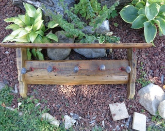 Reclaimed Barnwood 5 hook Railroad Spike hatrack or barn wood coat rack with red jasper inlays