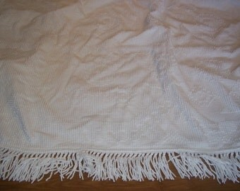 Vintage Chenille candlewick Bedspread craft fabric white w fringe, craft fabric 100 x 115..Reduced..WAS 19.99