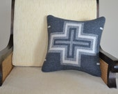 SAN MIGUEL WOOL Pillow Sham Pillow Cover Pillowcase southwestern decorative pillow grey ivory cross design native american art throw accent