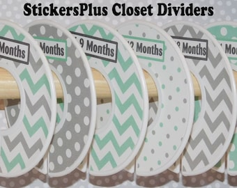Baby Closet Dividers Organizers Assembled or PreCut DIY Grey Gray White Mint Green Chevron Dots Neutral Boy Girl Nursery Decor CL007