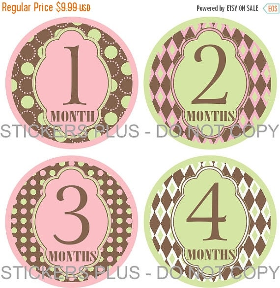 SALE Baby Month Stickers Plus FREE Gift Girl Circles Mod Green Pink Brown Dots Diamonds 1-12 or 13-24 Months Photo Prop Baby Age Stickers