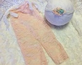 Newborn Lace Romper and Tie back Set, Peachy Pink Stretch Lace with Chiffon Sari Tie Back, Newborn Photography Prop, Lace Romper, Baby
