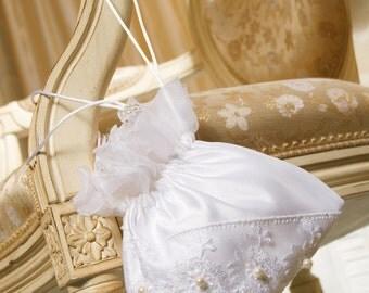 Bridal Handbag Purse With Embroidery On Tule