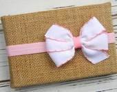 Baby Bow Headband - White Bow Headband - Pink Bow Headband - Newborn Bow Headband