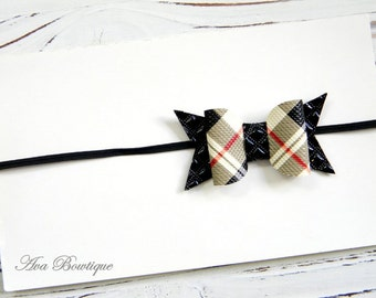 Baby Bow Headband - Plaid Bow Headband - Fall Bow Headband - Newborn Bow Headband