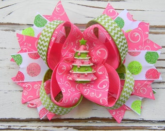 Christmas Boutique Hair Bow- Christmas Tree Boutique Bow