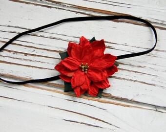 Poinsettia Christmas Headband - Baby Christmas Headband - Christmas Headband
