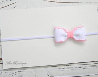 Newborn Bow Headband, Baby Bow Headband,  White Bow Headband