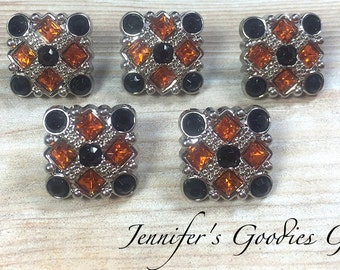 Halloween Acrylic Buttons with Shank, 18mm Petite, Set of 5, Black and Orange, Rhinestone Buttons, Halloween Buttons, Flower Centers