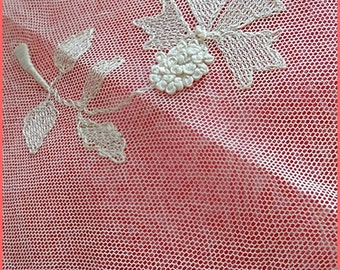 Vintage Lace, Tablecloth,  Hand Worked HONITON  Lace Tablemat,Tray Topper  Intricate Lace Work  1900's, Downton Abbey