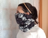 Black and white Flower, Running Scarf, cowl, gator, Ski Mask, snood, tube scarf