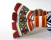 Native Aztec Bow Tie Dog Collar - pumpkin orange, navy