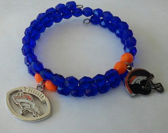Denver Broncos Czech Glass Wrap Bracelet