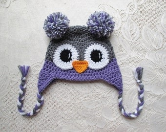 Dark Grey and Lavender Crochet Owl Hat - Winter Hat or Photo Prop - Available in Any Size or Color Combination