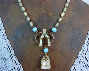 GLORIOUS MOTHER of PEARL watch fob antique assemblage vintage necklace