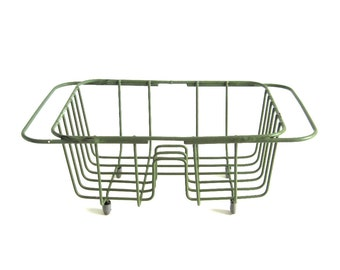 Small Dish Drying Rack, Vintage Avocado Green Rubber Coated Wire, Fits Over Sink, Hangs in Sink, for RV or Boat, 1960s 1970s