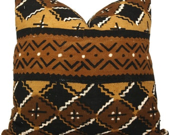 Mud Cloth Pillow Cover, Decorative Pillow Cover Brown and Ocher Geometric African Mud Cloth, Mali Hand made fabric 20x20 or lumbar pillow