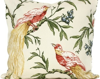 Decorative Pillow Cover in Duralee Multi colored Pheasants, Square, Lumbar Pillow or Eurosham - Accent Pillow, Tropical Pillow, Throw Pillow