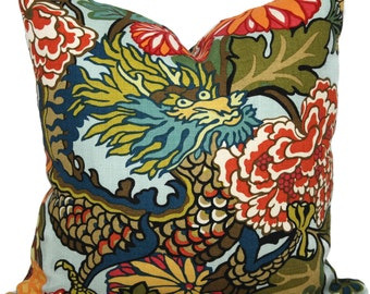 Aquamarine Schumacher Chiang Mai Decorative Pillow Cover with Dragon Face 18x18, 20x20 or 22x22, throw pillow, accent pillow