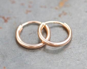 Golden Hoop Earrings - Sterling Silver - Small - Simple Minimalist Design