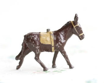 Antique Lead Donkey Toy - Vintage Iron Cast Farm Animal - Made in England