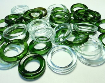 Recycled  Multi Colors Recycled Kiln Polished Bottle Rings 36 Rings (R977)