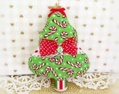 "Christmas Tree Ornament Fabric Tree  5"" Free Standing Tree Candy Cane Print Tree Ornament CIJ Christmas in July Home Decor CharlotteStyle"
