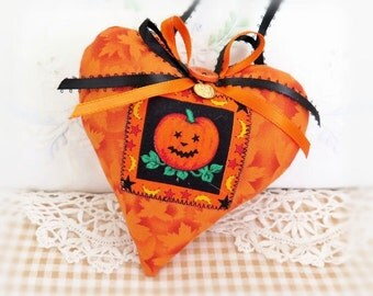 "Halloween Heart Door Hanger Heart 5"" Fabric Heart Leaves and Pumpkin Print Fall Cottage Style Handmade CharlotteStyle Decorative Folk Art"